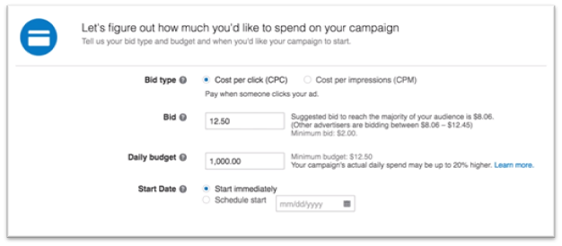 Once you know what your campaign budget and daily bid limits are, entering the bidding information is straightforward.